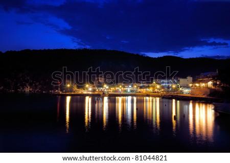 Sithonia, Greece, Pyrgadikia village at night #81044821