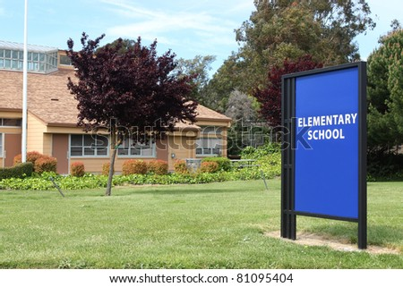 Big elementary school sign near entrance