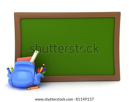 3D Illustration of a School Bag Lying Beside a Blackboard