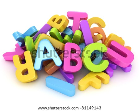 3D Illustration of Assorted Letters of the Alphabet