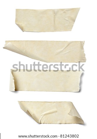 collection of  various adhesive tape pieces on  white background. each one is shot separately #81243802