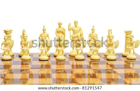 Set of chess figures on the playing board. Isolated on white. #81291547