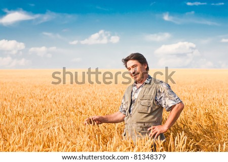 farmer standing in a wheat field, looking at the crop #81348379