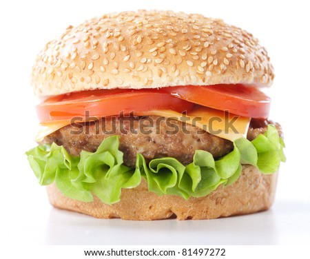 Cheeseburger with tomatoes and lettuce isolated on white #81497272