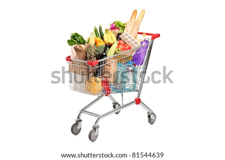A shopping cart full with various groceries isolated on white background Royalty-Free Stock Photo #81544639