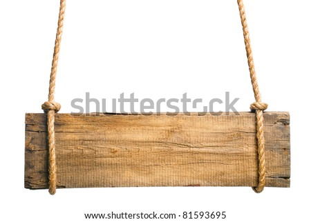 wooden sign isolated on a white background