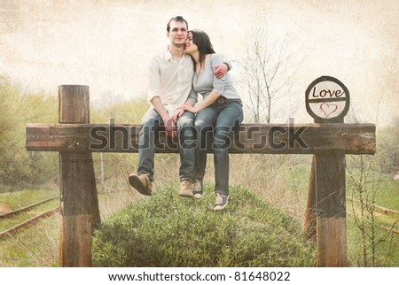Beautiful couple in love. Vintage photo