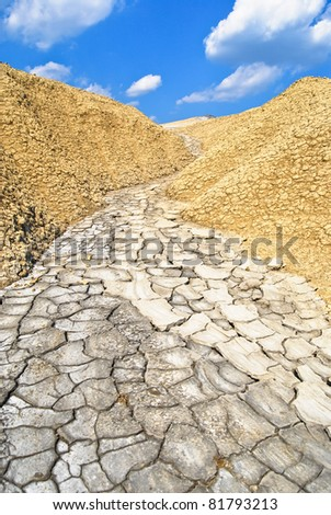 Mud path between mud hills from a mud volcano #81793213