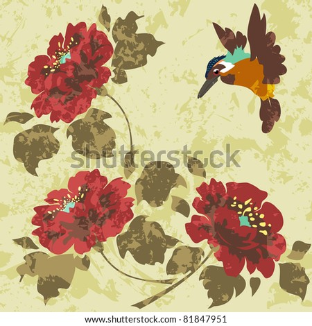 Old dirty Asian Wallpaper with flowers and birds. Seamless. Raster version.