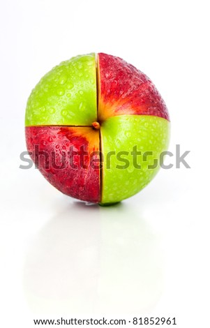 This picture is a portrait picture and very clean. The apple got shot in the middle of the picture and  have got a red-green pattern
