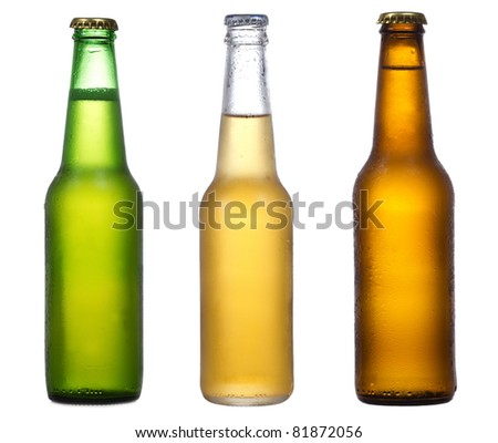different bottles of beer on a white background Royalty-Free Stock Photo #81872056