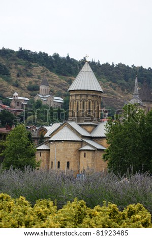 Churches and domes of Tbilisi, view to historical part of the capital of Republic of Georgia #81923485