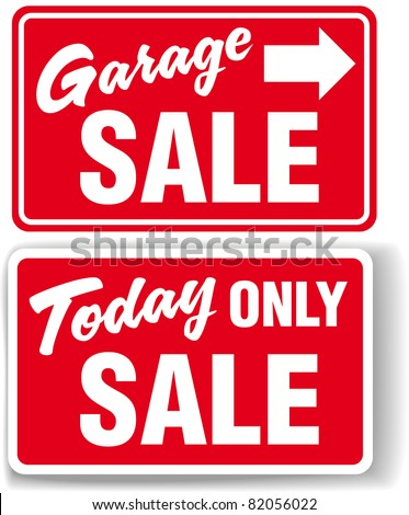 Garage arrow Today ONLY SALE red signs drop shadow or white border