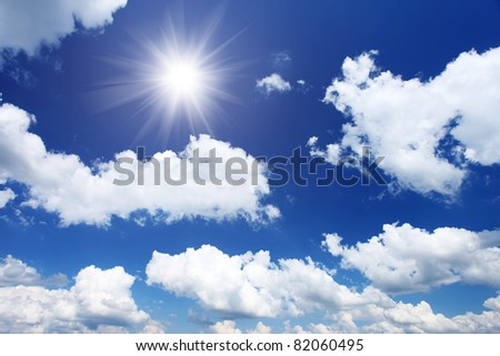 White fluffy clouds in the blue sky #82060495