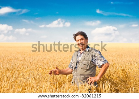 farmer standing in a wheat field, looking at the crop #82061215