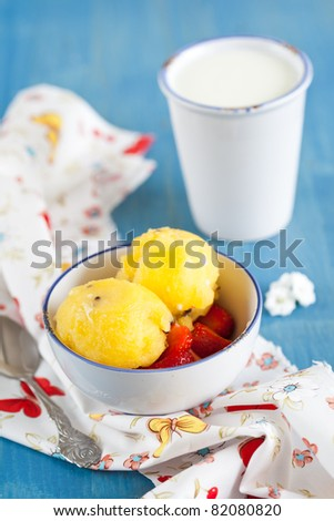 Delicious ice cream made with yellow watermelons on blue background #82080820