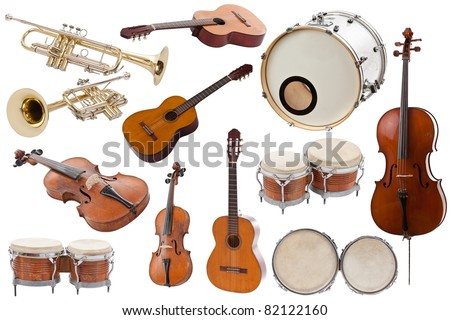 Musical instruments collection on white background Royalty-Free Stock Photo #82122160
