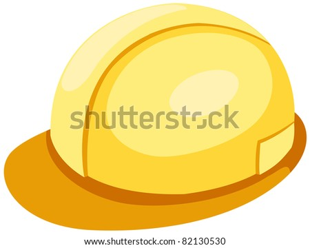 illustration of isolated a yellow helmet on white background