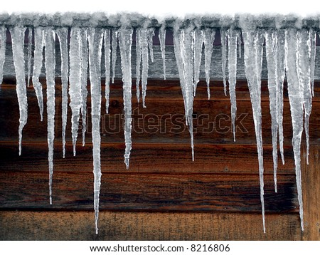Log Cabin Icicles Royalty-Free Stock Photo #8216806