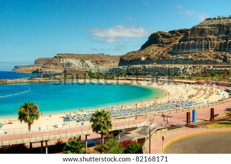 View over Amadores beach on Gran Canaria, Spain Royalty-Free Stock Photo #82168171