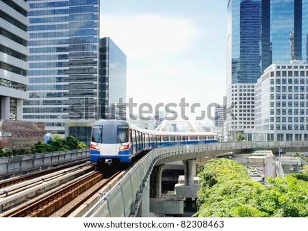 sky trian mass transit of bangkok thailand when you want go to downtown or business center central aria you can save time and budget. #82308463