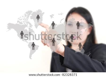 Asian business lady pushing people communication on the whiteboard. #82328371
