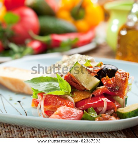Greek Salad (Feta Cheese,  Olive and Vegetables) with Toast #82367593