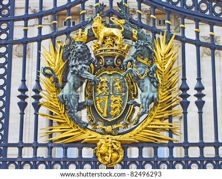 The Royal Seal in Buckingham Palace gate, London, England