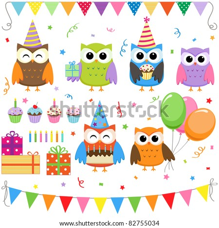 Set of vector birthday party elements with cute owls. Raster version.