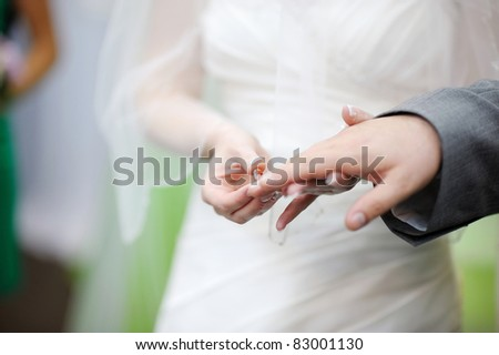 Bride putting a wedding ring on groom's finger #83001130