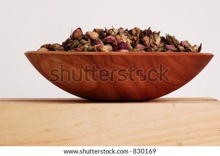 Wooden Bowl full of Rose Petals #830169