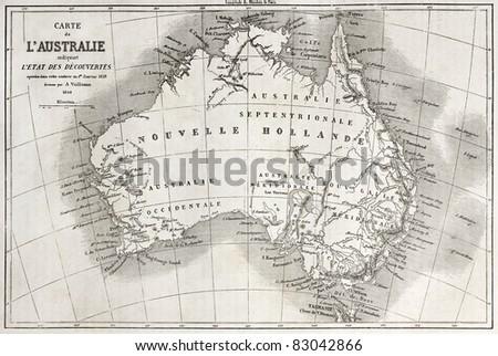 Australia old map. Created by Vuillemin and Erhard, published on Le Tour du Monde, Paris, 1860