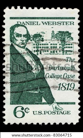 USA - CIRCA 1969 : A stamp printed in the USA shows Daniel Webster, The Dartmouth College Case 1819, circa 1969 #83064715
