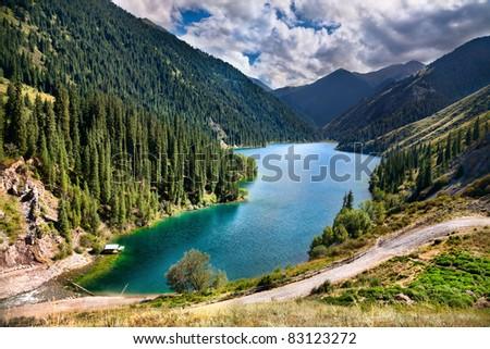 Beautiful view of high mountain lake Kolsai in Kazakhstan, central Asia #83123272
