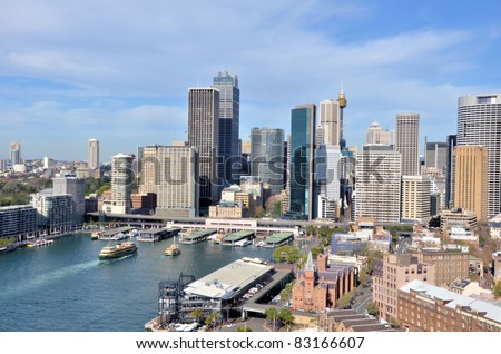 View of Circular Quay and Sydney Business District Centre Royalty-Free Stock Photo #83166607