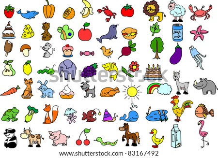 Cartoon icons of animals, food