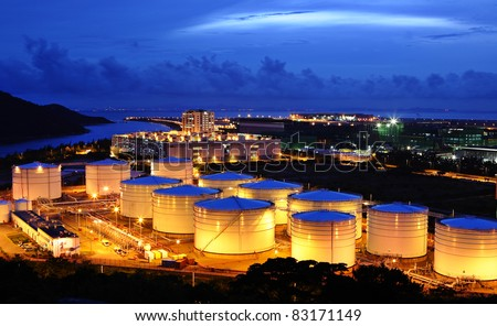 oil tank at night