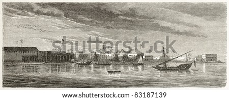 Zanzibar city, old view from the sea. Created by De Berard and Huyot, published on Le Tour du Monde, Paris, 1860 #83187139