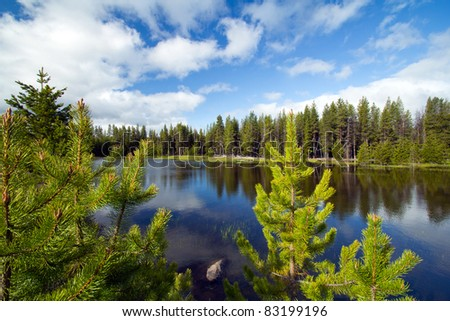 Peaceful mountain lake, Cascade mountain range, central Oregon #83199196