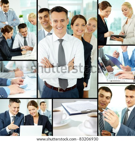 Collage of business group in office during working day #83206930