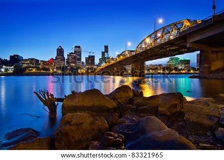 Portland Oregon City Skyline along Willamette River at Blue Hour