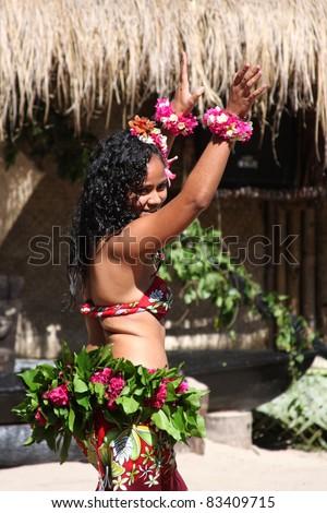 ROBINSON CRUSOE ISLAND, FIJI - JULY 28: Beautiful girl from Robinson Crusoe island's group performs traditional Tiare Tipani dance at Dancing Spectacular July 28, 2011 in Robinson Crusoe Island, Fiji #83409715