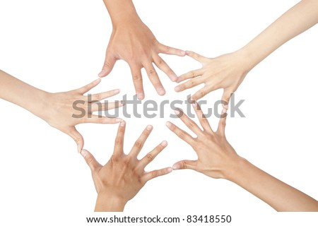 five different hands connected together and isolated on white #83418550