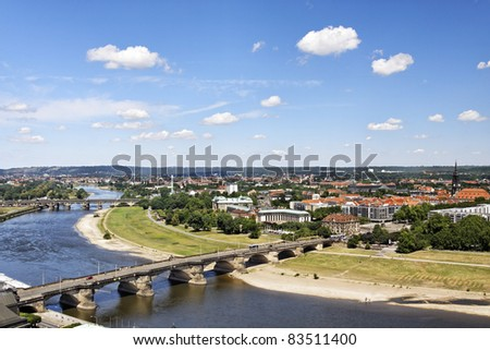 Old city of Dresden with a view to the river Elbe #83511400