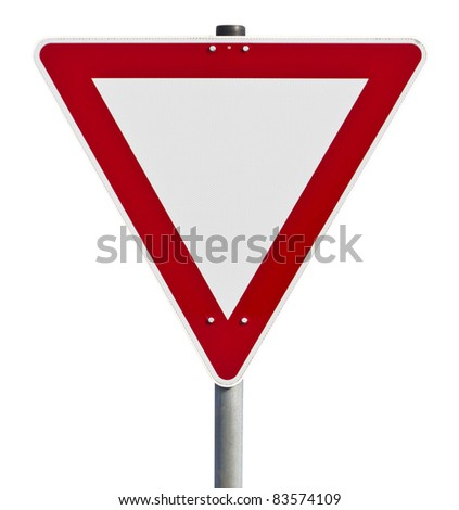 Red and white traffic sign. Picture taken in germany. with clipping path