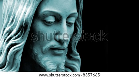 Blue- tinted photo of Jesus Christ, plenty of copy-space, Blue Duo-tone
