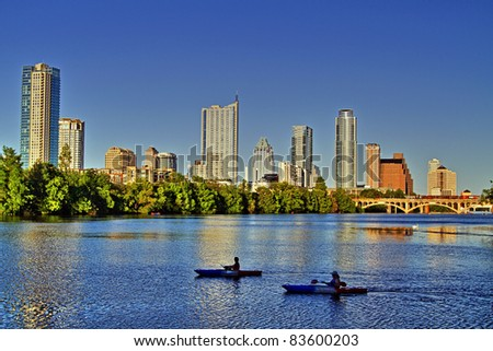 Beautiful Austin skyline reflection on Lady Bird Lake