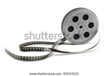 Old film strip isolated on white background.