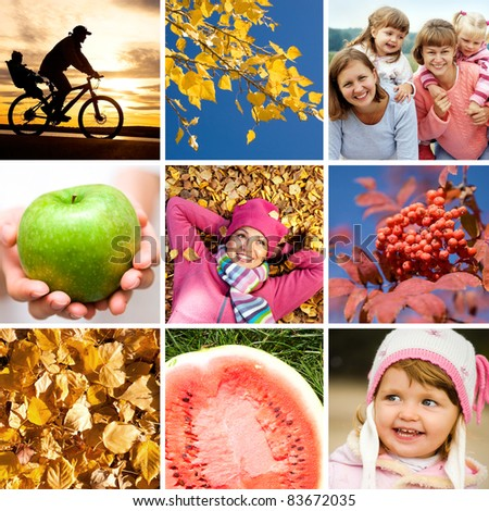 conceptual collage of pictures on the bright autumn theme