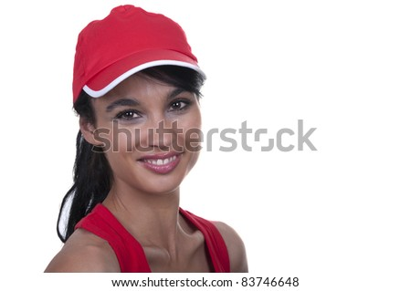 brunette with red cap isolated #83746648